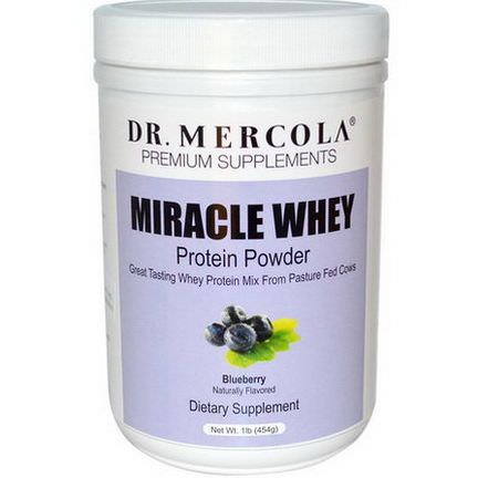 Dr. Mercola, Premium Supplements, Miracle Whey, Protein Powder, Blueberry 454g