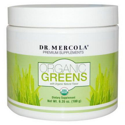 Dr. Mercola, Premium Supplements, Organic Greens, Natural Flavor 180g
