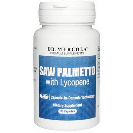 Dr. Mercola, Premium Supplements, Saw Palmetto with Lycopene, 30 Capsules