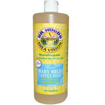 Dr. Woods, Shea Vision, Baby Mild Castile Soap, Unscented 946ml