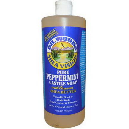 Dr. Woods, Shea Vision, Pure Peppermint Castile Soap 946ml
