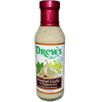 Drew's All Natural, Dressing&Quick Marinade, Roasted Garlic&Peppercorn 354ml
