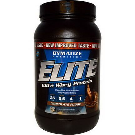 Dymatize Nutrition, Elite, 100% Whey Protein, Chocolate Fudge 907g
