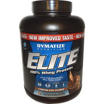 Dymatize Nutrition, Elite, 100% Whey Protein, Chocolate Fudge 2,270g