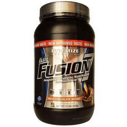 Dymatize Nutrition, Elite Fusion 7, Anytime Protein Nutrition, Rich Chocolate Shake 908g