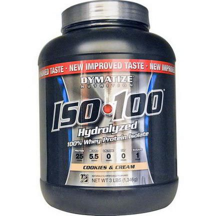 Dymatize Nutrition, ISO 100 Hydrolyzed 100% Whey Protein Isolate, Cookies&Cream 1,346g