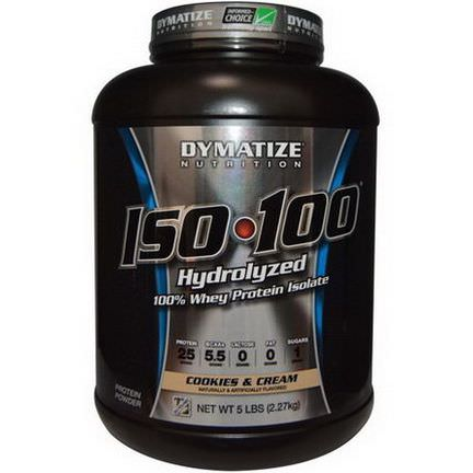 Dymatize Nutrition, ISO 100 Hydrolyzed, 100% Whey Protein Isolate, Cookies&Cream 2.27 kg