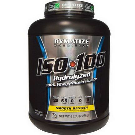 Dymatize Nutrition, ISO 100 Hydrolyzed, 100% Whey Protein Isolate, Smooth Banana 2.27 kg