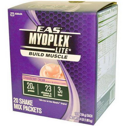 EAS, MyoPlex Lite Build Muscle Shake Mix, Strawberry Cream, 20 Packets 54g Each