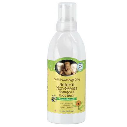 Earth Mama Angel Baby, Natural Non-Scents Shampoo&Body Wash, Unscented Calendula 1 L