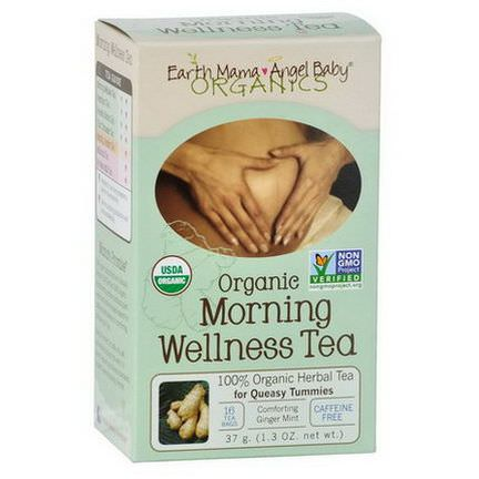 Earth Mama Angel Baby, Organic Morning Wellness Tea, Comforting Ginger Mint, Caffeine Free, 16 Tea Bags 37g