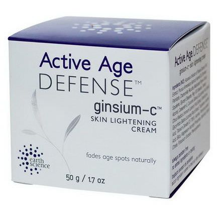 Earth Science, Active Age Defense, Ginsium-C, Skin Lightening Cream 50g