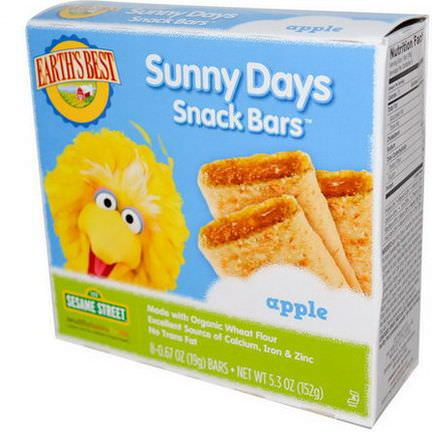 Earth's Best, Sunny Days Snack Bars, Apple, 8 Bars 19g Each