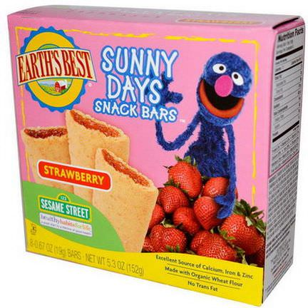 Earth's Best, Sunny Days Snack Bars, Strawberry, 8 Bars 19g Each