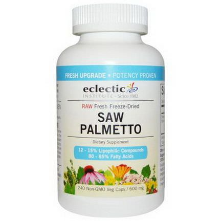 Eclectic Institute, Saw Palmetto, 600mg, 240 Non-GMO Veggie Caps