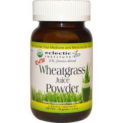 Eclectic Institute, Wheatgrass Juice Powder, Raw 36g