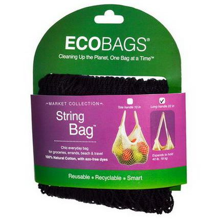 Eco-Bags Products, Market Collection, String Bag, Long Handle 22 in, Black, 1 Bag