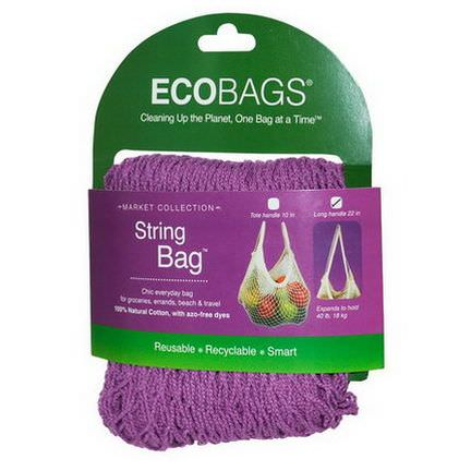 Eco-Bags Products, Market Collection, String Bag, Long Handle 22 in, Raspberry, 1 Bag