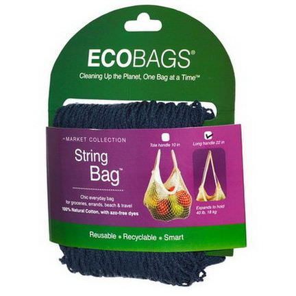 Eco-Bags Products, Market Collection, String Bag, Long Handle 22 in, Storm Blue, 1 Bag
