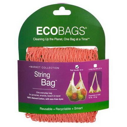 Eco-Bags Products, Market Collection, String Bag, Tote Handle 10 in, Coral Rose, 1 Bag