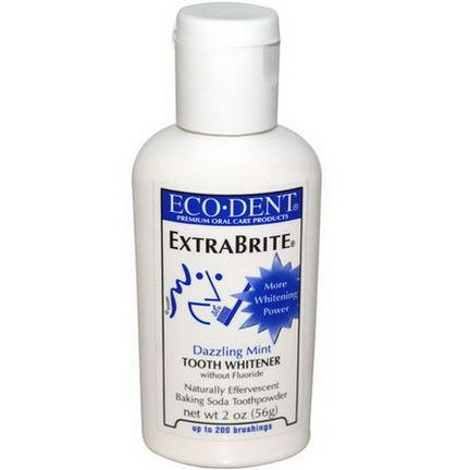 Eco-Dent, ExtraBrite, Tooth Whitener, without Fluoride, Dazzling Mint 56g