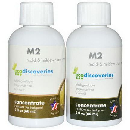 EcoDiscoveries, M2 Mold&Mildew Stain Remover, 2 Bottles 60ml Each