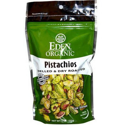 Eden Foods, Organic, Pistachios, Shelled&Dry Roasted, Lightly Sea Salted 113g