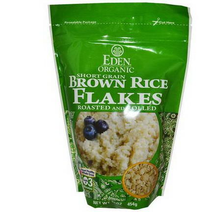 Eden Foods, Organic, Short Grain Brown Rice Flakes, Roasted and Rolled 454g