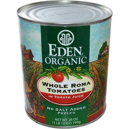Eden Foods, Organic Whole Roma Tomatoes 794g