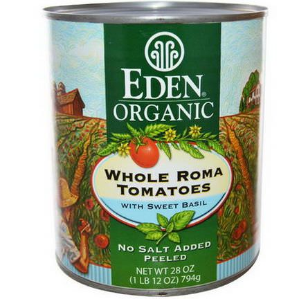 Eden Foods, Organic Whole Roma Tomatoes with Sweet Basil 794g