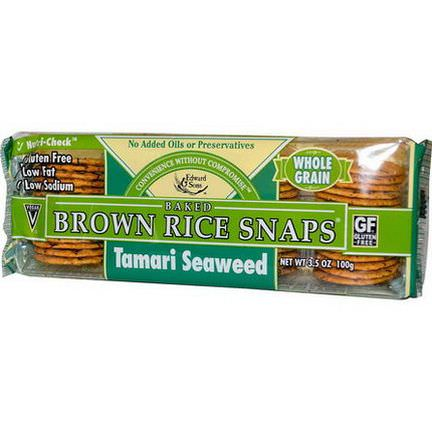 Edward&Sons, Baked Brown Rice Snaps, Tamari Seaweed 100g