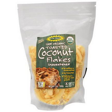 Edward&Sons, Let's Do Organic, 100% Organic Toasted Coconut Flakes Unsweetened 200g