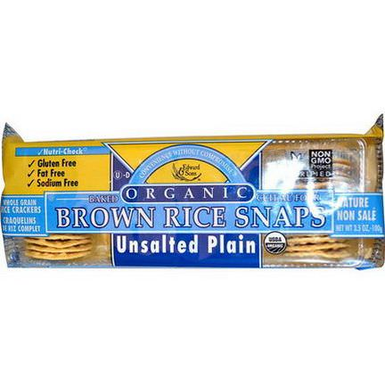Edward&Sons, Organic Baked Brown Rice Snaps, Unsalted Plain 100g