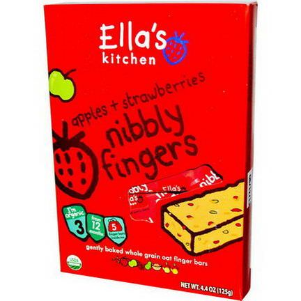 Ella's Kitchen, Nibbly Fingers, Apples Strawberries, 5 Bars 125g