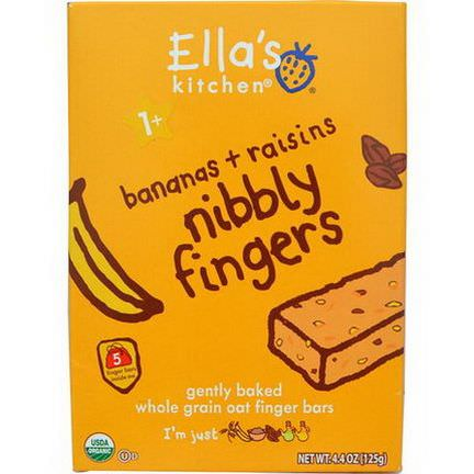 Ella's Kitchen, Nibbly Fingers, Bananas Raisins, 5 Bars 8g Each