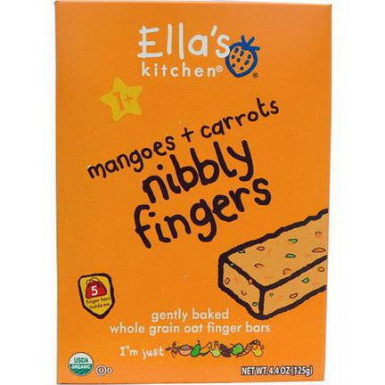 Ella's Kitchen, Nibbly Fingers, Mangoes Carrots, 5 Bars 125g