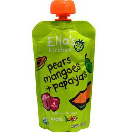 Ella's Kitchen, Super Smooth Puree, Pears Mangoes Papayas 99g