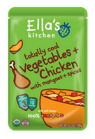 Ella's Kitchen, Totally Cool Vegetables Chicken with Mangoes Spices, Stage 3 190g