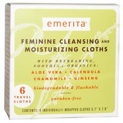 Emerita, Feminine Cleansing and Moisturizing Cloths, 6 Travel Cloths