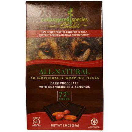 Endangered Species Chocolate, All-Natural Dark Chocolate with Cranberries&Almonds, 10 Pieces, 10g Each
