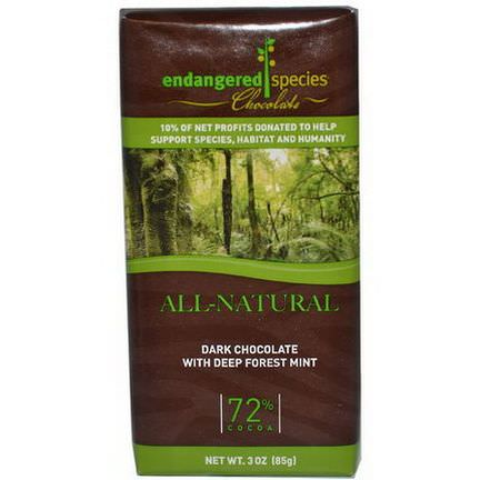 Endangered Species Chocolate, Dark Chocolate with Deep Forest Mint 85g