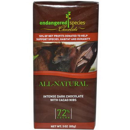 Endangered Species Chocolate, Intense Dark Chocolate with Cacao Nibs 85g
