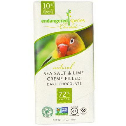 Endangered Species Chocolate, Sea Salt&Lime Creme Filled Dark Chocolate 85g