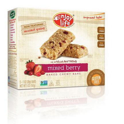 Enjoy Life Foods, Baked Chewy Bars, Mixed Berry, 5 Bars 28g Each