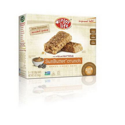 Enjoy Life Foods, Baked Chewy Bars, Sunbutter Crunch, 5 Bars 28g Each