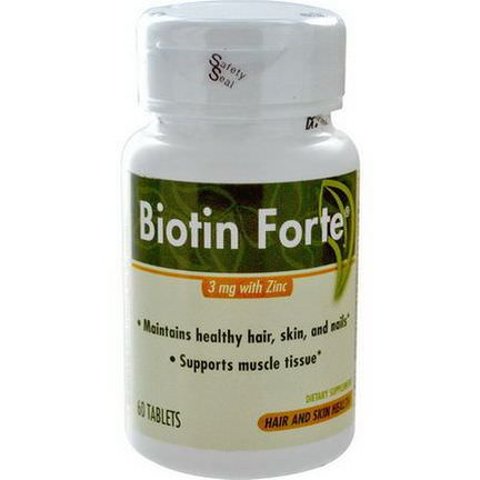 Enzymatic Therapy, Biotin Forte, 3mg with Zinc, 60 Tablets