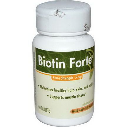 Enzymatic Therapy, Biotin Forte, Extra Strength, 5mg, 60 Tablets