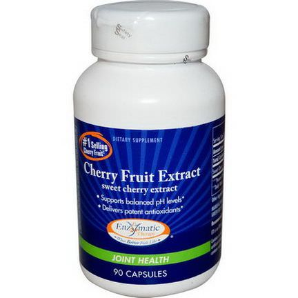 Enzymatic Therapy, Cherry Fruit Extract, Sweet Cherry Extract, Joint Health, 90 Capsules