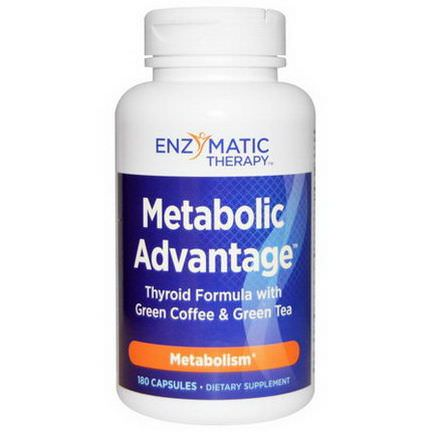 Enzymatic Therapy, Metabolic Advantage, Thyroid Formula with Green Coffee&Green Tea, Metabolism, 180 Capsules