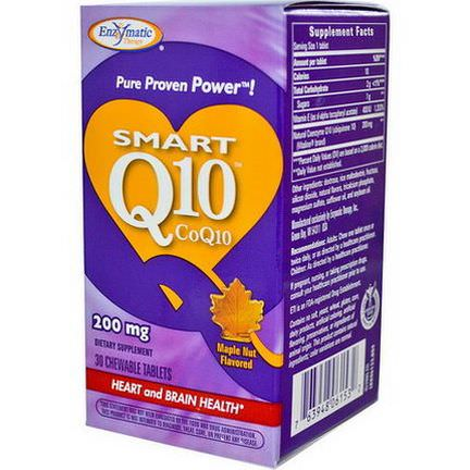Enzymatic Therapy, Smart Q10, CoQ10, Maple Nut Flavored, 200mg, 30 Chewable Tablets